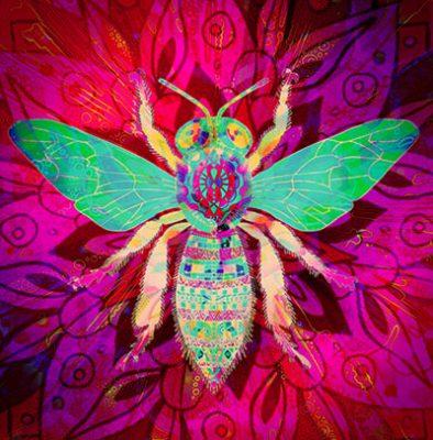 Biene in Grün