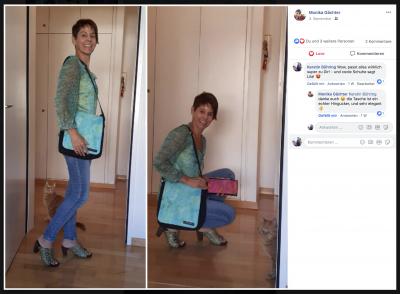 Monika Gächter mit einer Tasche und einem Portemonnaie aus der Serie 'Glück ist Liebe'