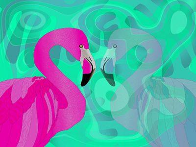 Flamingo mit Spiegel